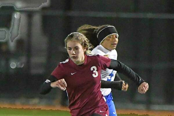 Stillwater's Brooke Pickett (3) moves the ball against Schoharie during a girls Section II Class C high school soccer final game in Stillwater, N.Y., Wednesday, Nov. 1, 2017. Stillwater won the game 4-2.(Hans Pennink / Special to the Times Union) ORG XMIT: HP114