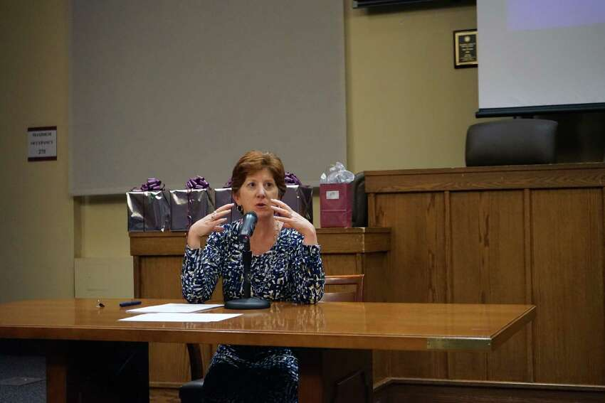 Albany Mayor Kathy Sheehan discusses sanctuary cities at the Albany Law Review Symposium on Thursday, Nov. 9, 2017. (Massarah Mikati/Times Union)