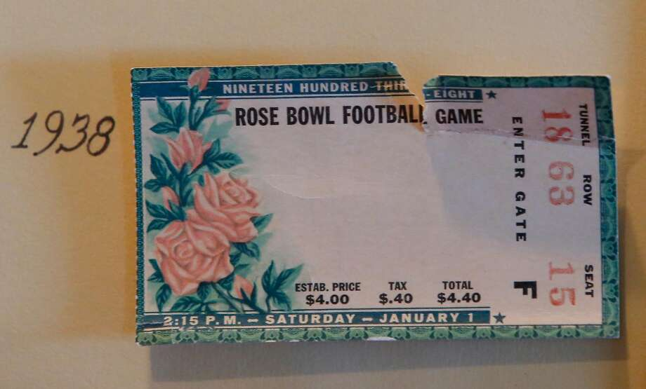 A ticket for the 1938 Rose Bowl is seen in a frame of Robert Wilhelm's 50th reunion of the members of the 1938 Rose Bowl. Photo: Lea Suzuki, The Chronicle
