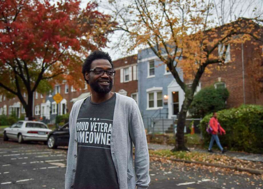 Marrio Pearson, who served in the Army from 1990 to 1999, used a Veterans Administration loan to buy his rowhouse in Washington, D.C.  / The Washington Post