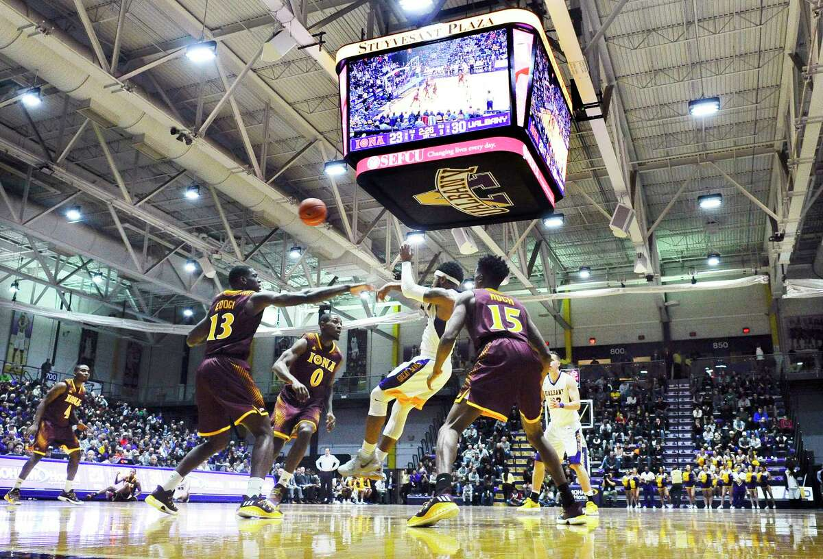 Albany Great Danes play the Iona Gaels under their new video scoreboard during the first half of an NCAA men's college basketball game on Friday, Nov. 10, 2017, in Albany, N.Y. (Hans Pennink / Special to the Times Union) ORG XMIT: HP102
