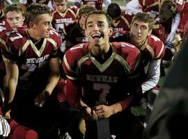 Cardinal Newman's Beau Barrington is all smiles after Newman's 49-7 win over Kennedy in NCS playoff game at Santa Rosa High School in Santa Rosa, Calif., on Friday, November 10, 2017.