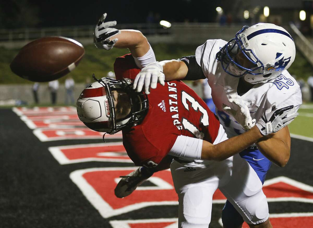 Barbers Hill defensive back Bret Copeland (43) breaks up a pass in the end zone intended for Porter wide receiver Tayler Baker (13) during the first half of a 21-5A high school football game at Texan Drive Stadium on Friday, Nov. 10, 2017, in Houston. ( Brett Coomer / Houston Chronicle )