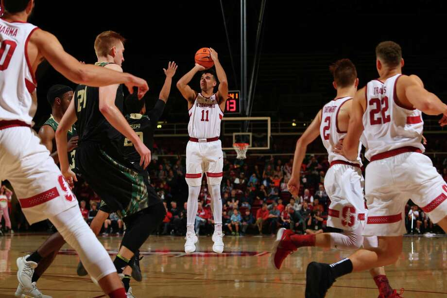 Stanford Senior Dorian Pickens (#11) shoots a jumpshot during a NCAA Men's basketball game against Cal Polytechnic at Maples Pavilion in Stanford, Calif. on Friday, November 10, 2017. Photo: Mike Rasay / ISI Photos / Mike Rasay / ISI Photos / 2016 Rasay Photo & Design