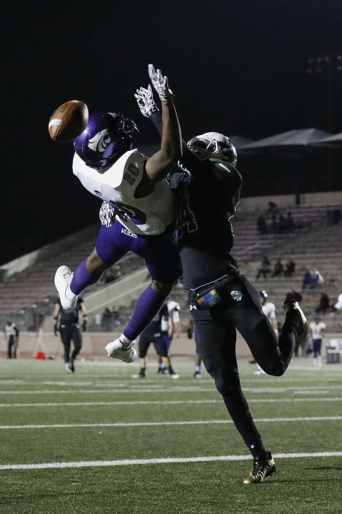 Kingwood Park Panthers cornerback Isaiah Lewis (24) breaks up a pass intended for Humble Wildcats Trodale Richardson (20) in the end zone during the high school football game between the Humble Wildcats and the Kingwood Park Panthers in Humble, TX on Friday, November 10, 2017.