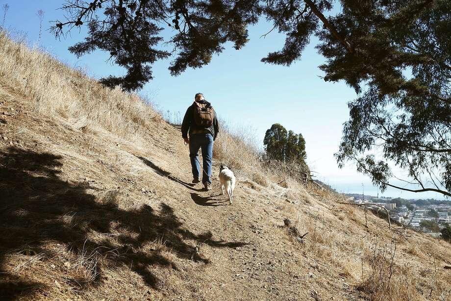 Alex Aldrich walks his dog, Concha, in McLaren Park. Photo: Liz Hafalia, The Chronicle