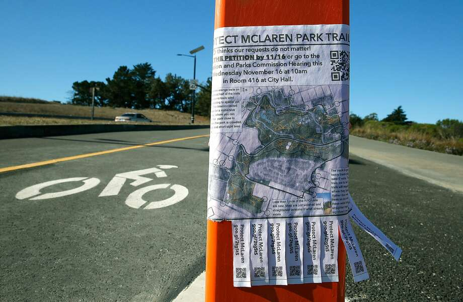 A flyer on a new bicycle path expresses public concern for trails at McLaren Park. Photo: Liz Hafalia, The Chronicle