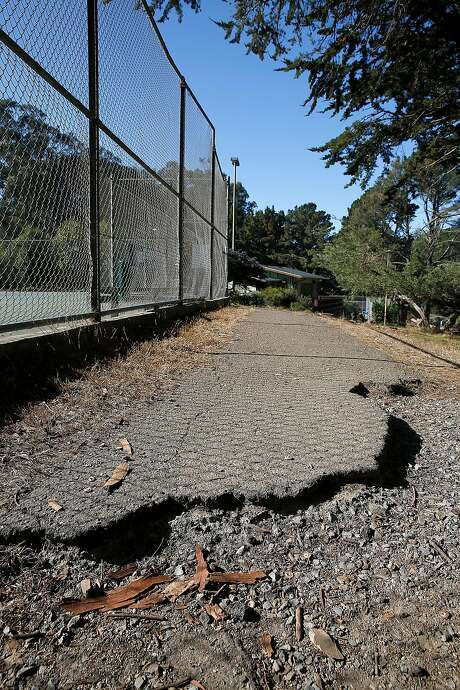 A path near the tennis courts at McLaren Park is damaged. Photo: Liz Hafalia, The Chronicle