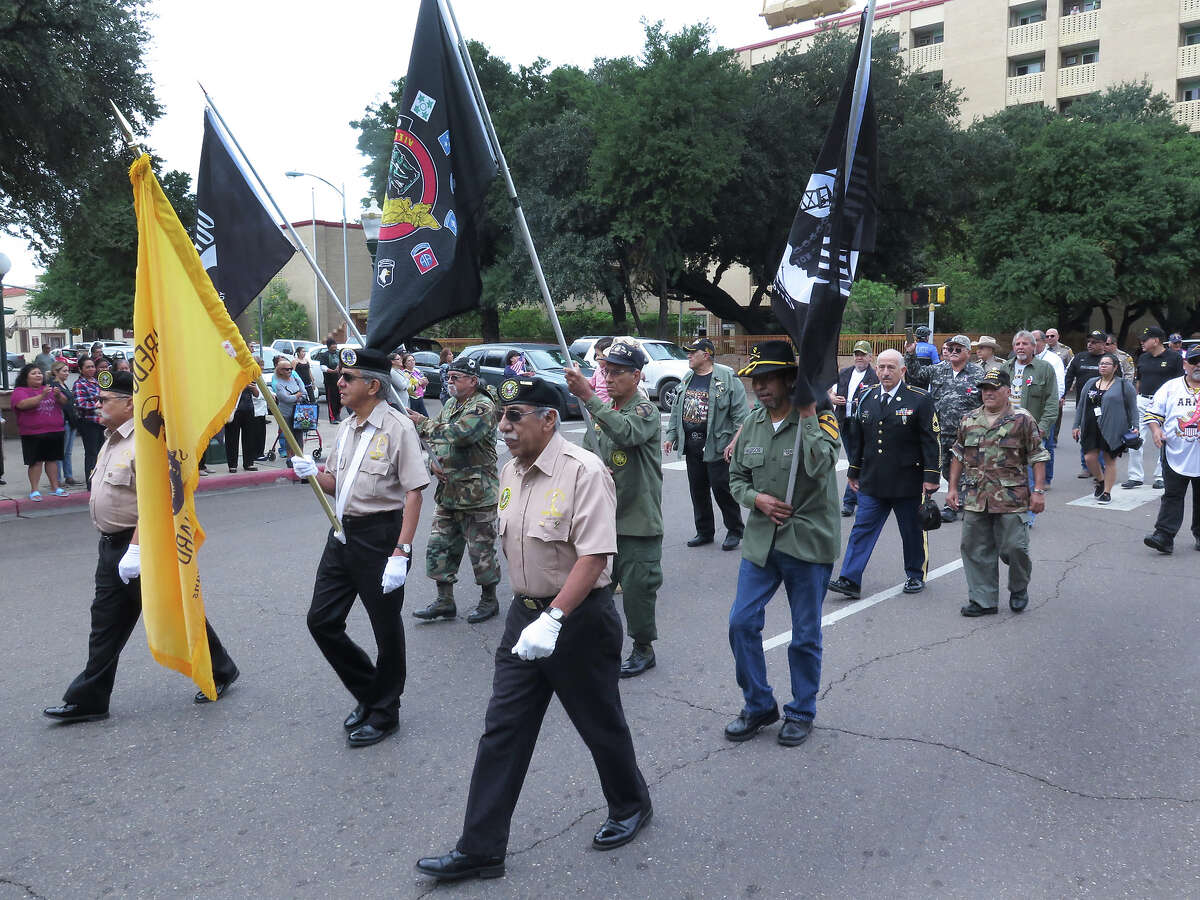 Military veterans marched in the annual Veterans Day parade from St. Peter's Plaza to San Agustin Plaza Friday morning.