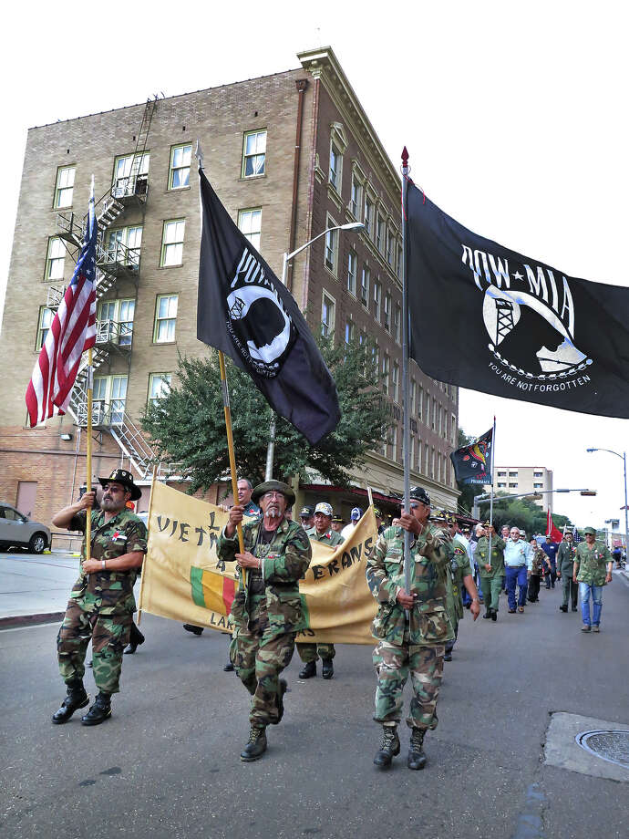 Vietnam War Veterans march  in the Veterans Day Parade Tuesday morning. Photo: Cuate Santos/Laredo Morning Times