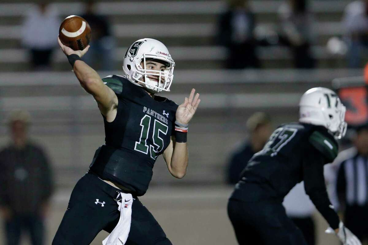 Kingwood Park Panthers quarterback Daniel Bresko (15) throws a pass in the second half during the high school football game between the Humble Wildcats and the Kingwood Park Panthers in Humble, TX on Friday, November 10, 2017.