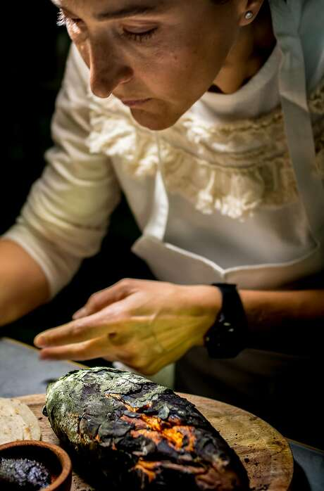 Chef Gabriela Camara preparing her Sweet Potato with Back Salsa and Bone Marrow at her restaurant Cala in San Francisco. Photo: John Storey / Special To The Chronicle 2015