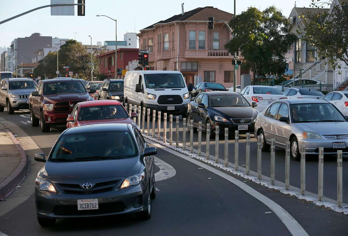 Trtaffic slows to a crawl on Jackson Street near the site of the Oakland A's preferred location for a new stadium in Oakland, Calif. on Thursday, Sept. 28, 2017. Traffic patterns where the A's hope to build their home will be among the main issues that will be addressed before moving the project forward.