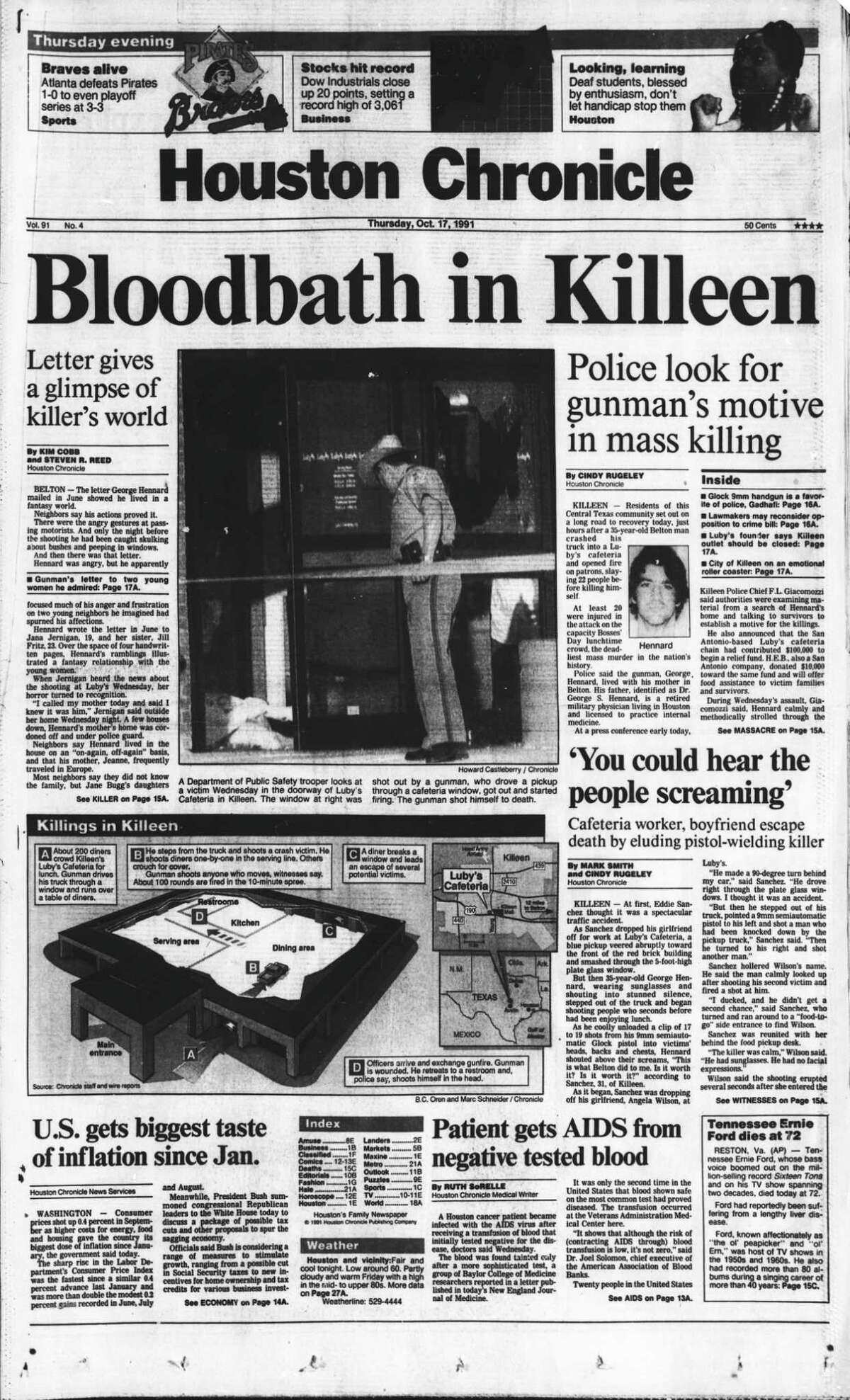 Location:Luby's in Killeen Date:October 16, 1991 # of deaths:24 Classification: In this photo:Houston Chronicle front page (HISTORIC) -- October 17, 1991 (Luby's cafeteria mass shooting) -- Bloodbath in Killeen. HOUCHRON CAPTION (08/12/2001): The Oct. 17, 1991, edition of the Chronicle was dominated by stories of a shooting rampage in Killeen that ended with 24 people dead. Stories of the killings, then the worst mass murder in U.S. history, focused on interviews with survivors as well as attempts to uncover the gunman's motive.