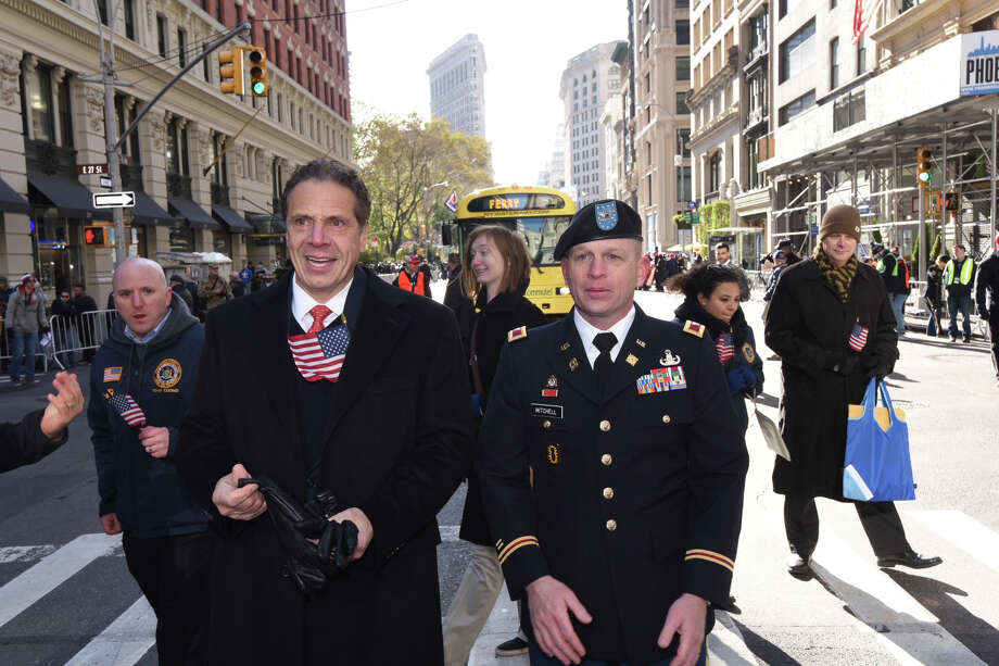 Gov. Andrew Cuomo marches in the Veterans Day Parade in Manhattan on Saturday, Nov. 11, 2017. (Executive Chamber) Photo: Executive Chamber