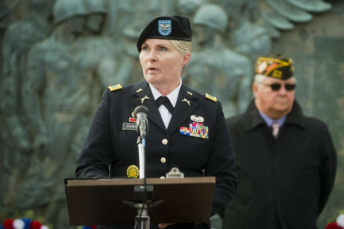 Iraqi War veteran Col. Rhoda K. Daniel, who served in Iraq during the 2007-2008 surge as the communication officer and the acting chief of staff for the 177th Military Police Brigade, addresses the crowd during a Veterans Day ceremony Saturday morning, Nov. 11, 2017 in front of the Veterans Memorial near the Midland County Courthouse. (Katy Kildee/kkildee@mdn.net)