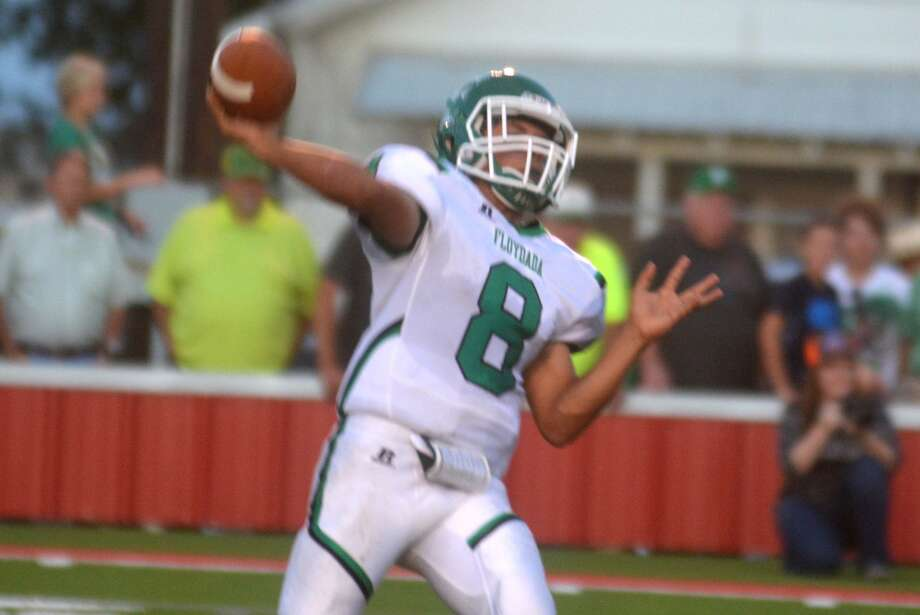 Floydada quarterback Andrew Vega fires a pass during a game earlier this season. The junior signal-caller threw two touchdown passes late in the first half Friday night to ignite the Whirlwinds to a victory over Olton which clinched a playoff berth. Photo: Skip Leon/Plainview Herald