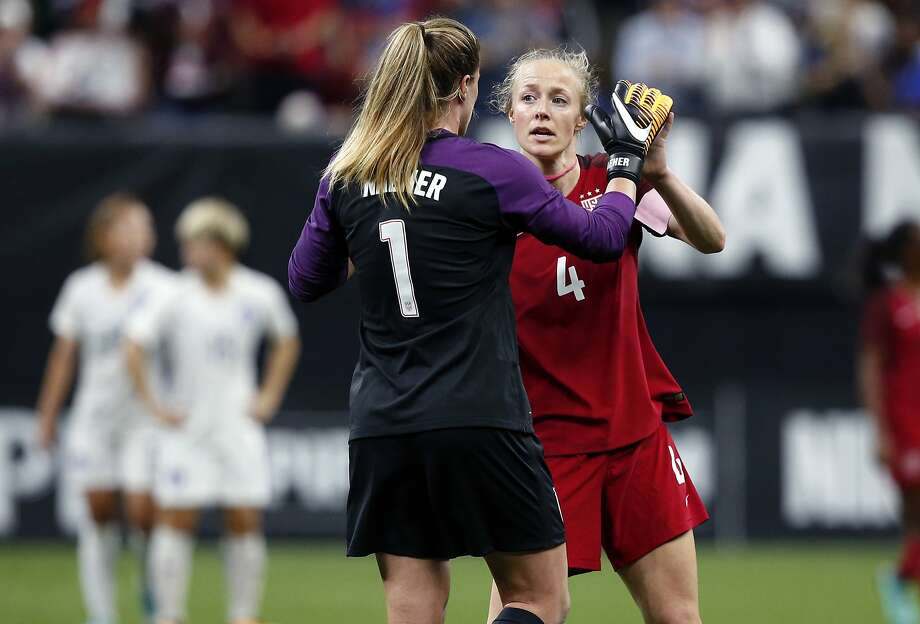 aada4c6d6 U.S. goalie Alyssa Naeher (1) is congratulated by defender Becky Sauerbrunn  (4)