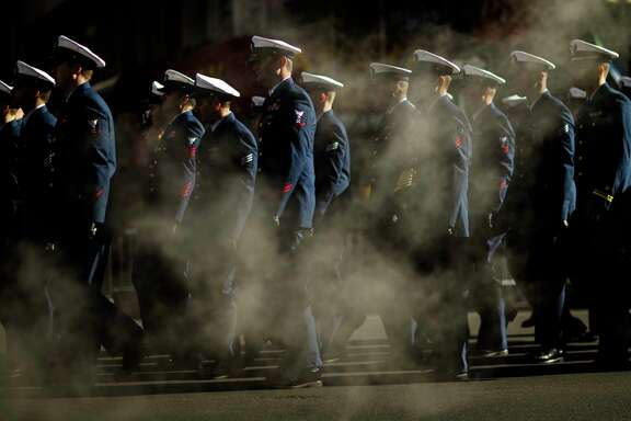 U.S. Navy personnel march in the annual Veterans Day parade in New York, Saturday, Nov. 11, 2017. (AP Photo/Andres Kudacki)