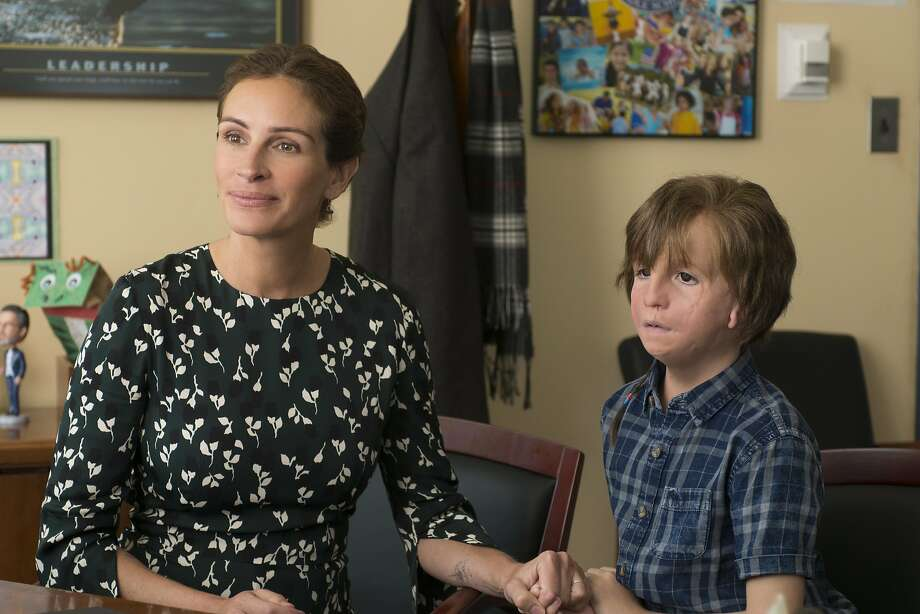 "Jacob Tremblay stars as Auggie, a fifth-grade boy with facial abnormalities who will be attending school for the first time, in ""Wonder,"" with Julia Roberts as his mother. Photo: Lionsgate Films"