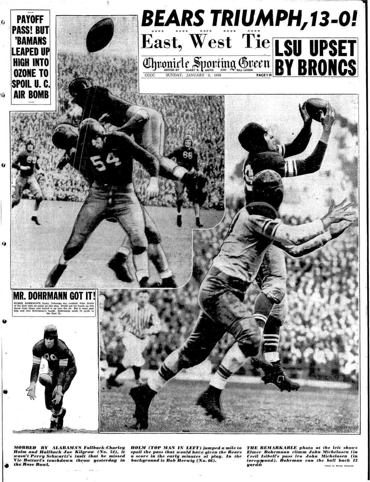 Chronicle Sports front page on Jan. 2, 1938, with Cal Bears beating Alabama in the Rose Bowl.