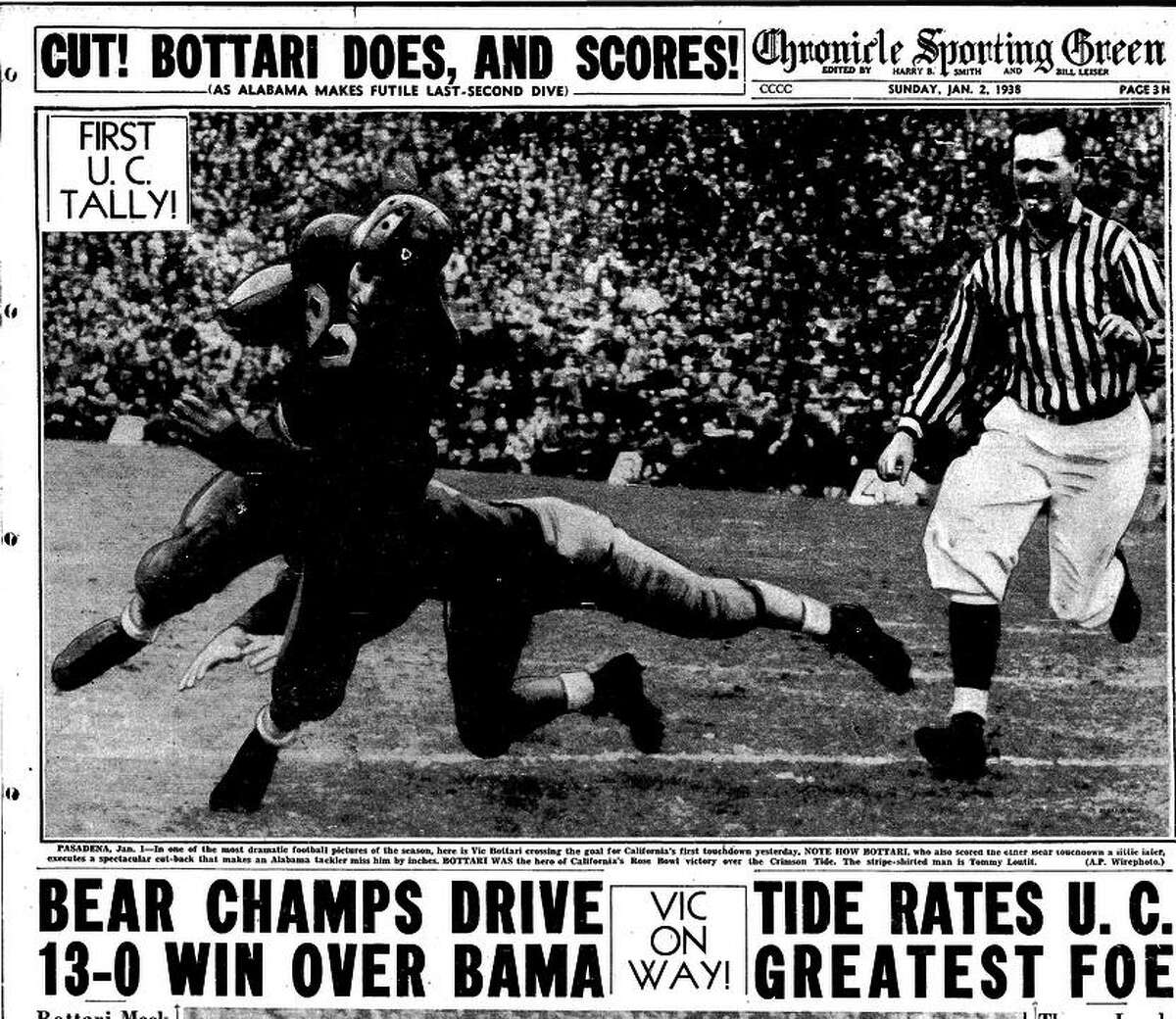 The inside page of The Chronicle on Jan. 2, 1938, reports Cal's historic 13-0 win over Alabama in the Rose Bowl.