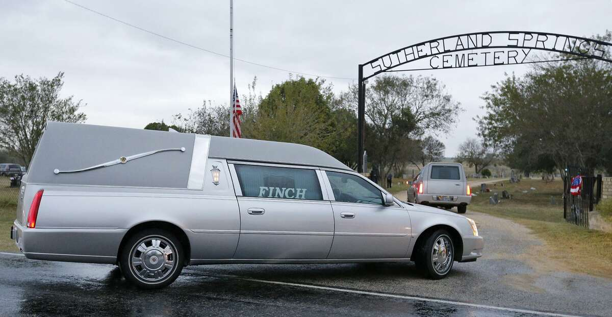 Hearses enter the Sutherland Springs Cemetery during the funeral of Sutherland Springs shooting victims Therese and Ricardo Rodriguez Saturday, Nov. 11, 2017. (Edward A. Ornelas/San Antonio Express-News)