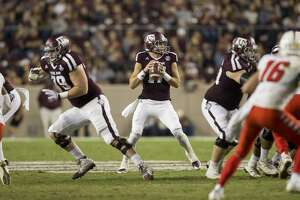 Texas A&M quarterback Nick Starkel (17) looks to pass downfield against New Mexico during the second quarter of an NCAA college football game on Saturday, Nov. 11, 2017, in College Station, Texas. (AP Photo/Sam Craft)