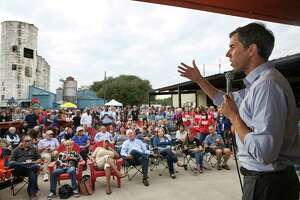 U.S. Congressman Beto O'Rourke, who is challenging U.S. Sen. Ted Cruz's seat in the next election, spreads his message to the public during a rally at No Label Brewery on Saturday in Katy.