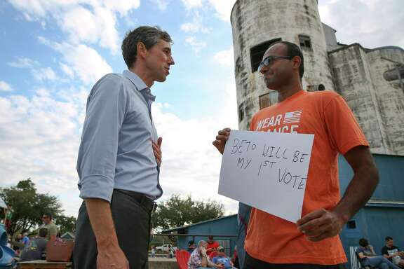 U.S. Congressman Beto O'Rourke, who is challenging U.S. Sen. Ted Cruz's seat in the next election, talks to Arvind Sriraman at a rally at No Label Brewery  Saturday, Nov. 11, 2017, in Katy. Sriraman, a member of Moms Demand Action for Gun Sense in America, is from India and could become a U.S. citizen in July, 2018. Sriraman said he is determined to vote for O'Rourke because he lost his wife in a gun violence five years ago and O'Rourke supports gun sense. ( Yi-Chin Lee / Houston Chronicle )