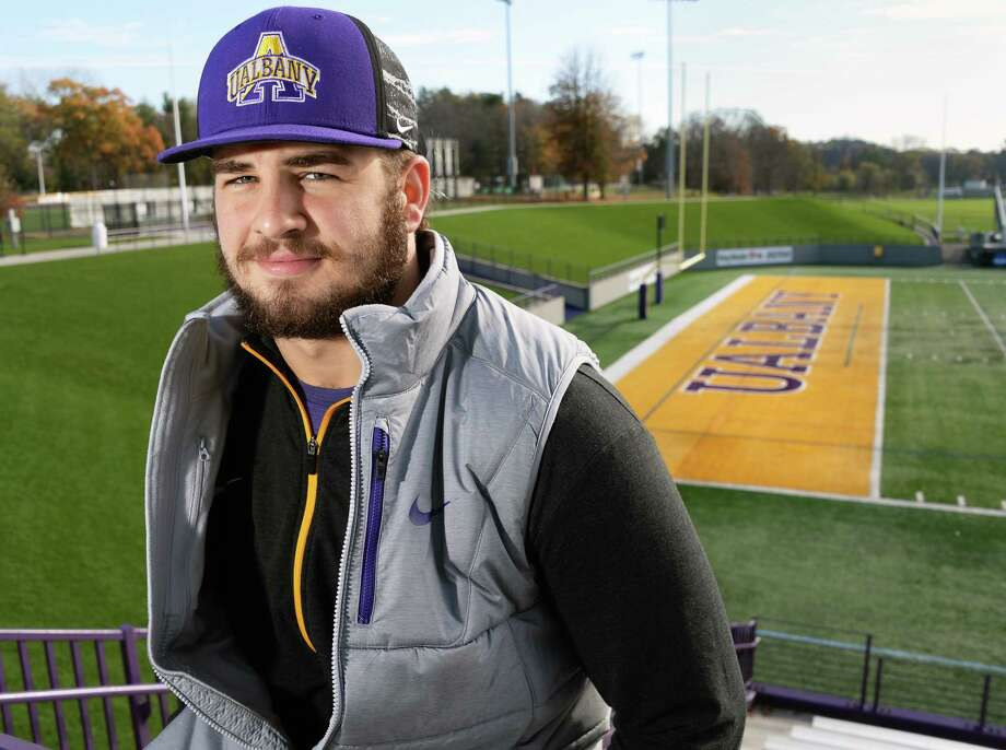 UAlbany linebacker Nate Hatalsky from Mechanicville during an interview at Casey Stadium Thursday Nov. 9, 2017 in Albany, NY.  (John Carl D'Annibale / Times Union) Photo: John Carl D'Annibale / 20042065A
