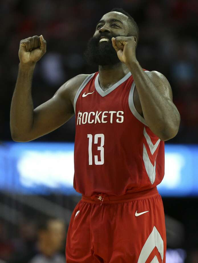 Houston Rockets guard James Harden (13) reacts to not making the basket at the end of the third quarter of an NBA game against the Memphis Grizzlies at Toyota Center on Saturday, Nov. 11, 2017, in Houston. ( Yi-Chin Lee / Houston Chronicle ) Photo: Yi-Chin Lee/Houston Chronicle