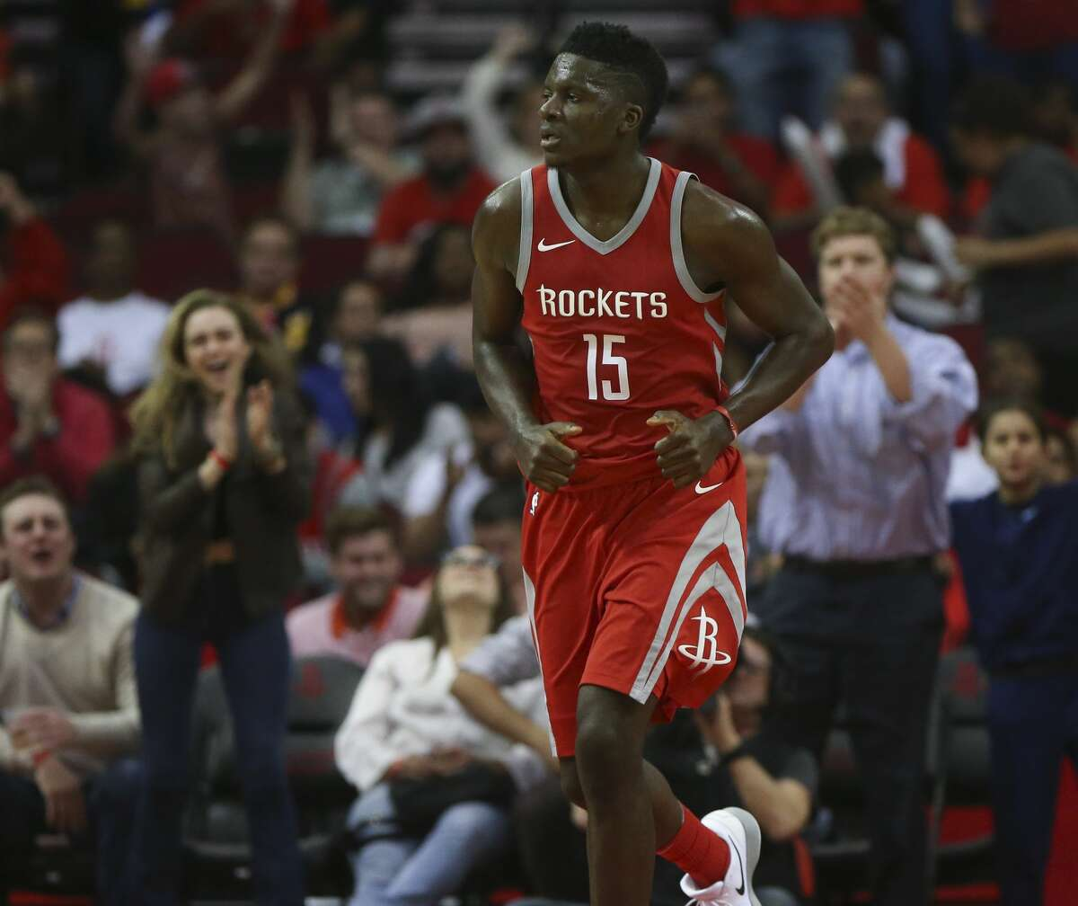 The fans cheer for Houston Rockets center Clint Capela (15) after his dunk during the fourth quarter of an NBA game against the Memphis Grizzlies at Toyota Center on Saturday, Nov. 11, 2017, in Houston. ( Yi-Chin Lee / Houston Chronicle )