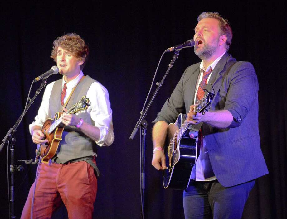 Ryan Green and Cameron Hood of the duet RyanHood perform during the the 23rd annual NERFA Conference at the Crowne Plaza Hotel in Stamford, Connecticut on Saturday, Nov. 11, 2017.  The two musicians, who are from Tucson, AZ, have been friends since high school, collaborating a High Energy type of Folk music. Nearly one thousand attendees, traveling from as far away as Canada, California, Texas, and Florida, participated in three day event that included a variety of work shops, several Show Case concerts of up and coming Folk musicians and a multitude of Gorilla Jam sessions. Photo: Matthew Brown / Hearst Connecticut Media / Stamford Advocate