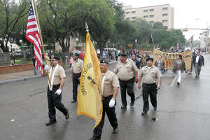 Representatives of the Laredo Veterans Color Guard lead the marching veterans at the annual Veterans Day Parade, Saturday, November 11, 2017.