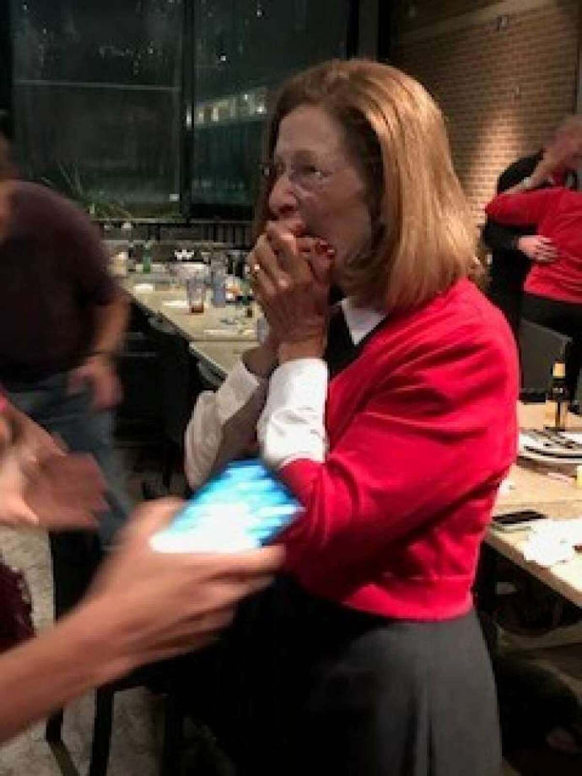 Carol Stromatt reacts on Nov. 7 after learning she had won the election for the Position 7 seat on The Woodlands Township Board of Directors. Stromatt defeated one-term incumbent Laura Fillault.