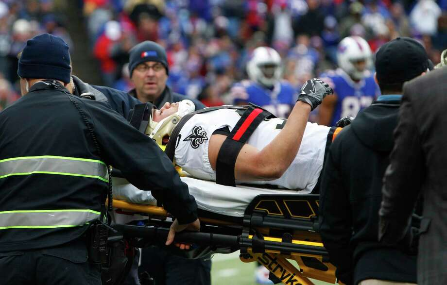 New Orleans Saints running back Daniel Lasco (36) is carted off the field during the first half of an NFL football game against the Buffalo Bills Sunday, Nov. 12, 2017, in Orchard Park, N.Y. (AP Photo/Jeffrey T. Barnes) Photo: Jeffrey T. Barnes, FRE / FR171450 AP
