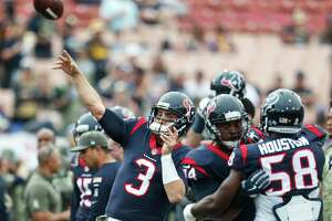 Houston Texans quarterback Tom Savage (3) throws a pass  before an NFL football game against the Los Angeles Rams at the Los Angeles Memorial Coliseum on Sunday, Nov. 12, 2017, in Los Angeles.