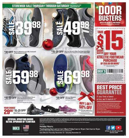 Dick's Sporting Goods released their Black Friday ad and holiday hours. Their stores will be open at 6 p.m. on Thursday, Nov. 23 until 2 p.m. on Friday, Nov. 24, 2017. Photo: Dick's Sporting Goods