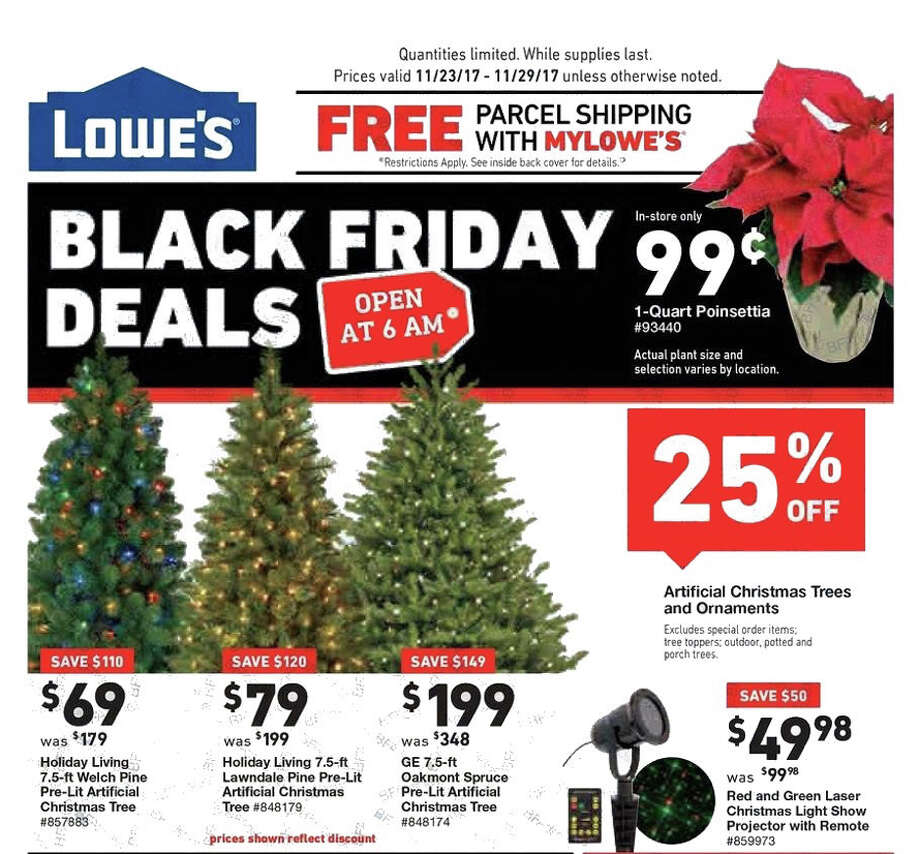 Lowe's released their Black Friday ad and holiday hours. Their stores will be open at 6 a.m. on Friday, Nov. 24, 2017 and deals last until Nov. 29, unless otherwise noted. Photo: Lowe's