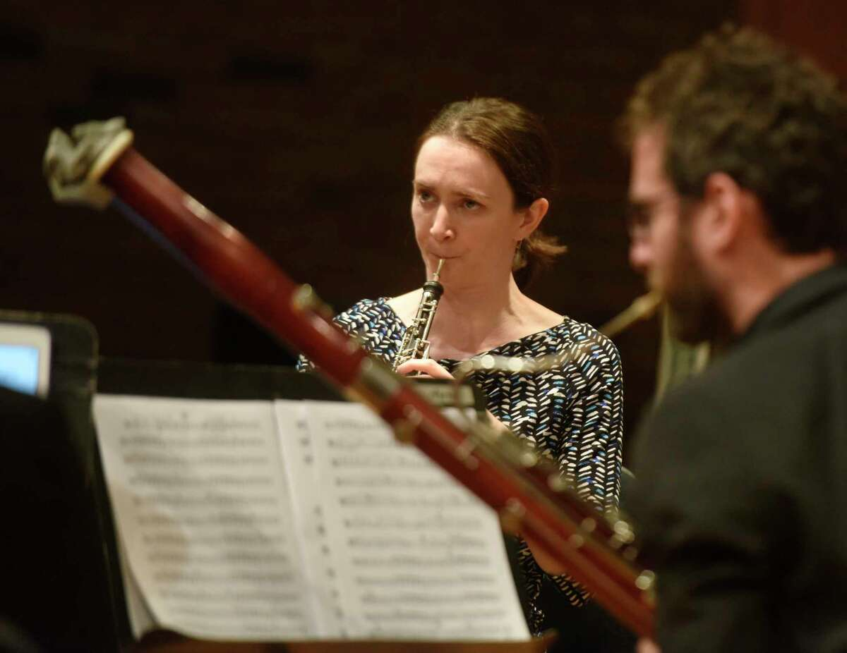 Oboe player Mary Lynch performs with the Musicians from Marlboro as part of the free Friends Cole Concert Series at Greenwich's Library's Cole Auditorium in Greenwich, Conn. Sunday, Nov. 12, 2017. The Musicians from Marlboro group rotates talented young professional musicians with seasoned veteran artists in varied chamber music programs.