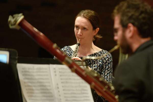 Oboe player Mary Lynch performs with the Musicians from Marlboro as part of the free Friends Cole Concert Series at Greenwich's Library's Cole Auditorium in Greenwich, Conn. Sunday, Nov. 12, 2017. The Musucians from Marlboro group rotates talented young professional musicians with seasoned veteran artists in varied chamber music programs.