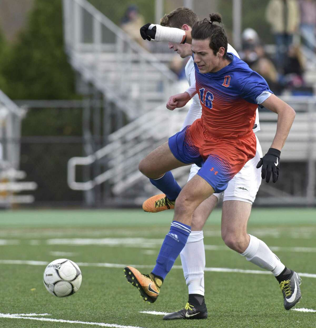 Boys Class LL Soccer game between Danbury and New Milford high schools, Wednesday afternoon at New Milford High School, in New Milford, Conn, November 8, 2017.