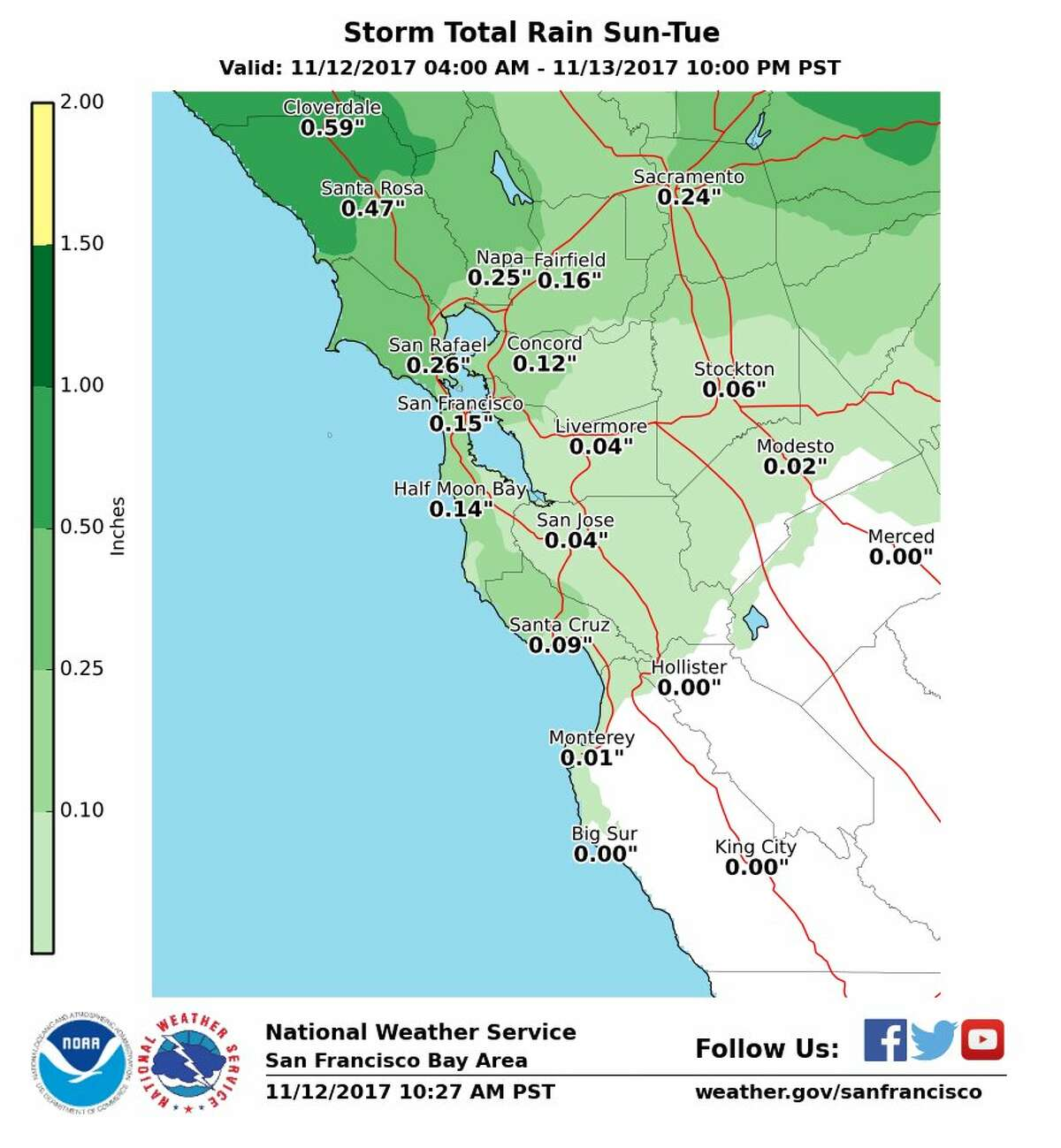 The National Weather Service was predicting storms in the Bay Area throughout the week of Nov. 12, 2017.
