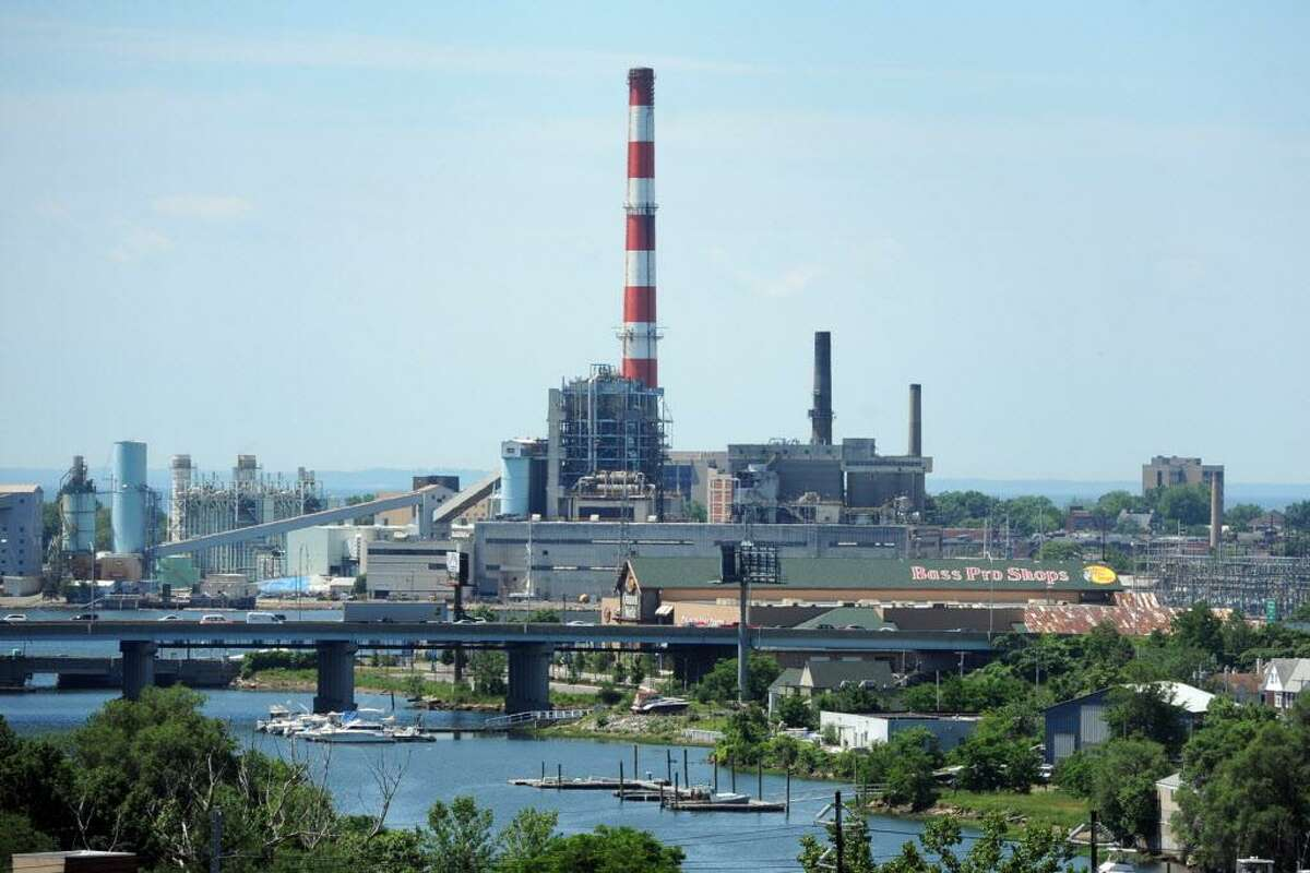 The view looking south towards PSEG's Bridgeport Harbor Station power plant, in Bridgeport, Conn. June 22, 2017, seen here from the parking garage at Bridgeport Hospital.