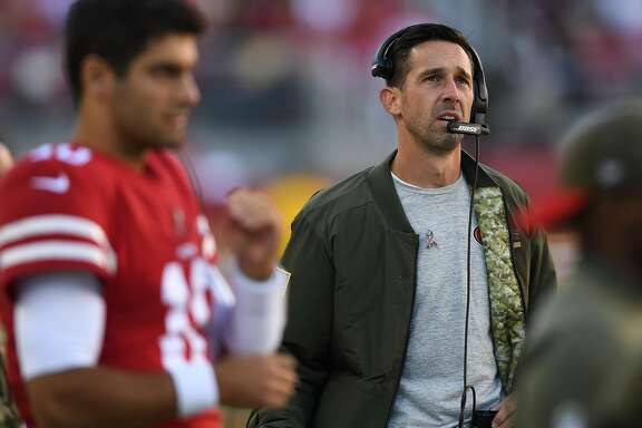 SANTA CLARA, CA - NOVEMBER 12:  Head coach Kyle Shanahan of the San Francisco 49ers looks on against the New York Giants during their NFL game at Levi's Stadium on November 12, 2017 in Santa Clara, California.  (Photo by Thearon W. Henderson/Getty Images)