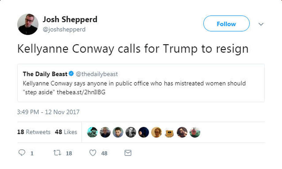 Twitter users pounced on Counselor to the President Kellyanne Conway after she made remarked that politicians who face sexual harassment or assault allegations should resign from office. Photo: File/Twitter