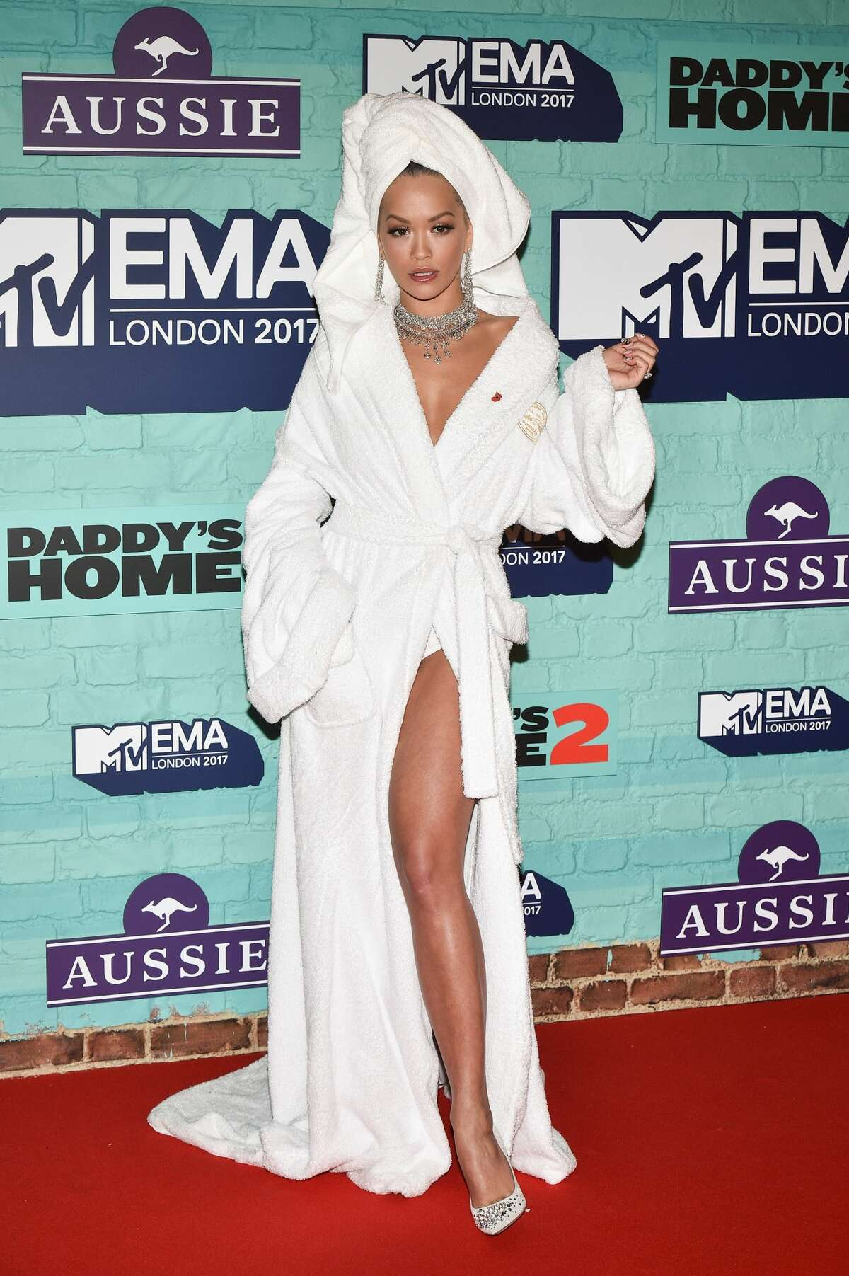 Undecided:Bravo for Rita Ora showing up at the red carpet in a robe and towel, but come on.