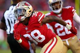SANTA CLARA, CA - NOVEMBER 12:  Adrian Colbert #38 of the San Francisco 49ers reacts after a play against the New York Giants during their NFL game at Levi's Stadium on November 12, 2017 in Santa Clara, California.  (Photo by Ezra Shaw/Getty Images)