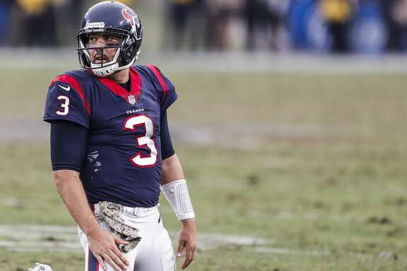 Houston Texans quarterback Tom Savage (3) kneels on the field after throwing an interception against the Los Angeles Rams during the fourth quarter of an NFL football game at the Los Angeles Memorial Coliseum on Sunday, Nov. 12, 2017, in Los Angeles, Mass. ( Brett Coomer / Houston Chronicle )